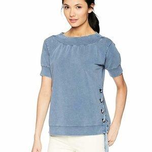 William Rast Blue Off-The-Shoulder Sweatshirt